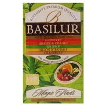 ZAĻĀ TĒJA BASILUR MAGIC FRUITS ASSORTED, MAISIŅOS FOLIJA APLOKSNĒS (935655)
